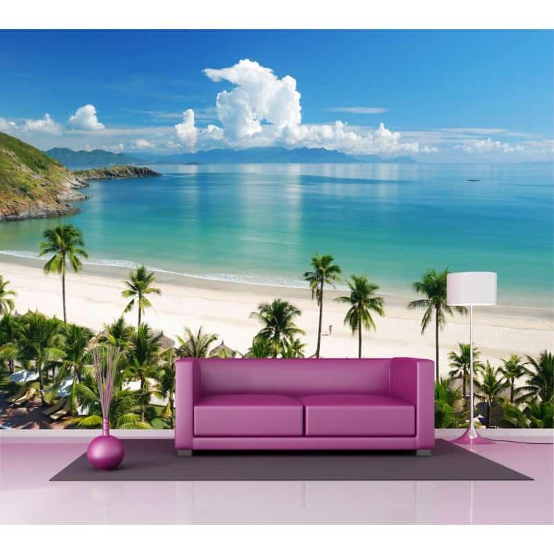 sticker mural g ant vue sur plage 2 6 x3 6 m art d co. Black Bedroom Furniture Sets. Home Design Ideas