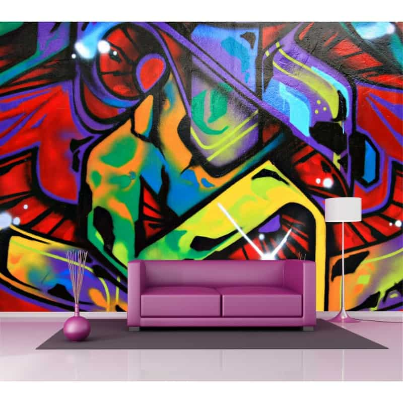 Sticker mural g ant graphitis tag 2 6 x3 6 m art d co - Sticker mural geant ...