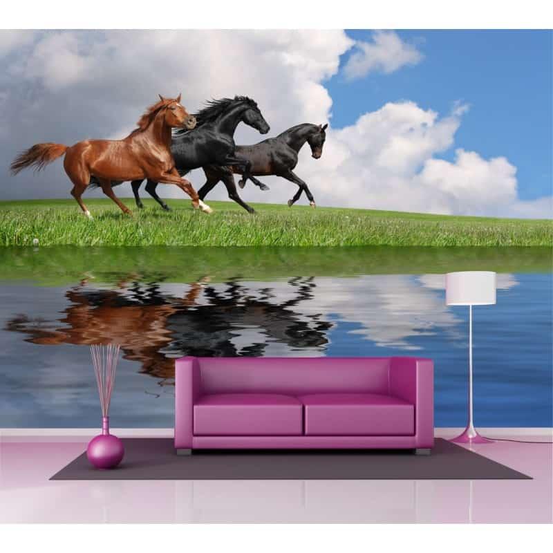 Sticker mural g ant chevaux au galop 2 6 x3 6 m art d co - Sticker mural geant ...