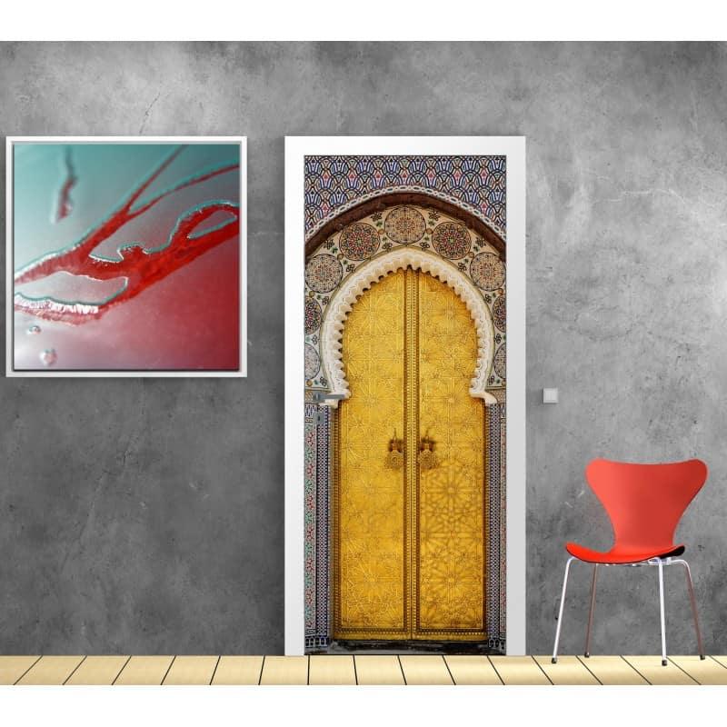 Sticker porte trompe l 39 oeil d co porte orientale art d co stickers for Sticker porte orientale
