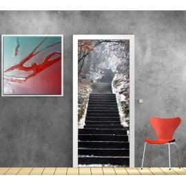 Sticker porte trompe l'oeil déco Escalier neige