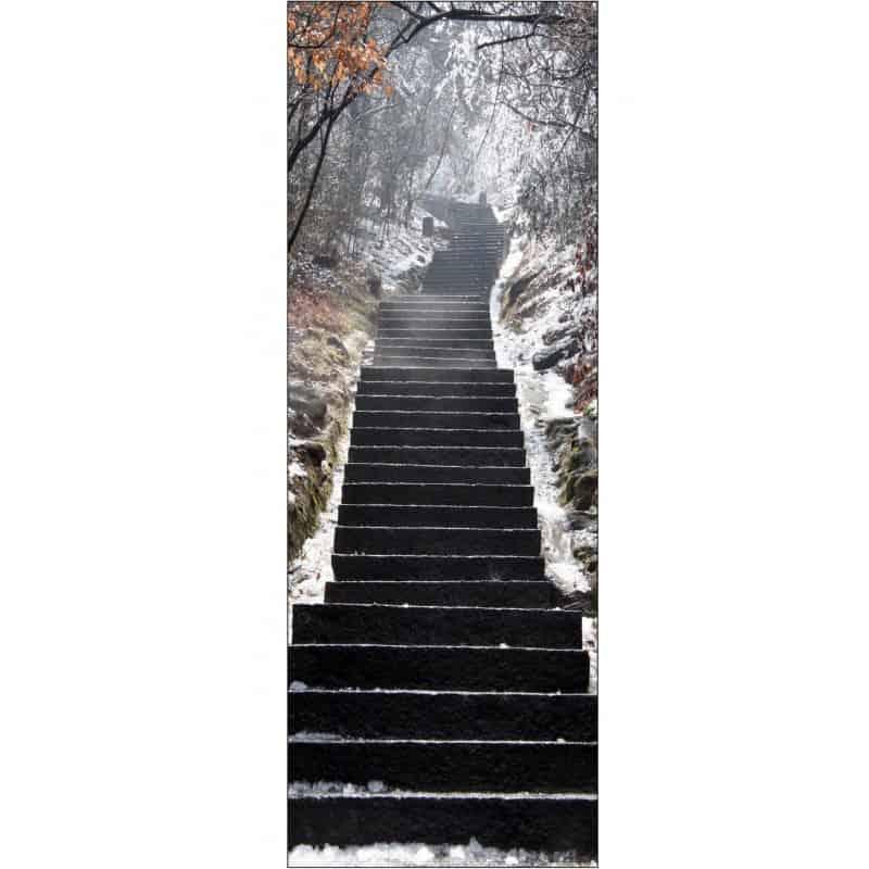 Sticker porte trompe l 39 oeil d co escalier neige art d co for Sticker decoration de porte trompe l oeil escalier