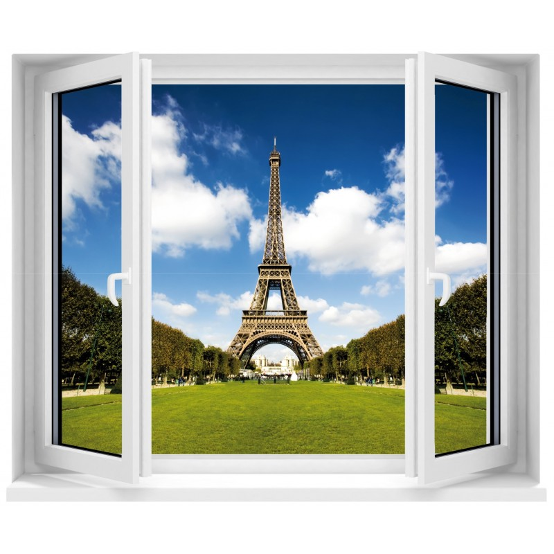 sticker fen tre trompe l 39 oeil tour eiffel art d co stickers. Black Bedroom Furniture Sets. Home Design Ideas