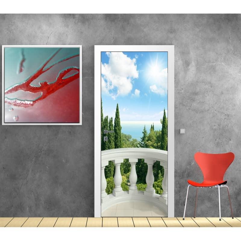 Sticker porte trompe l 39 oeil d co balcon art d co stickers - Stickers porte new york ...