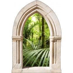 Sticker mural trompe l'oeil déco Arche Bambous