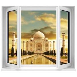Sticker Fenêtre trompe l'oeil Temple Taj Mahal