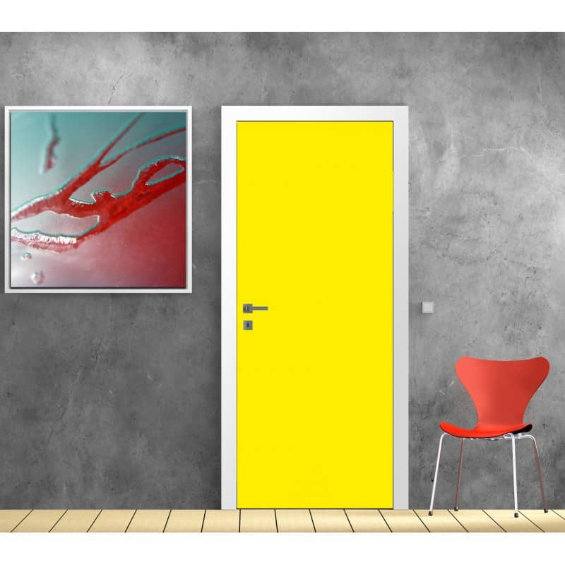 Sticker pour porte d co couleur jaune art d co stickers for Decoration porte interieure poster sticker