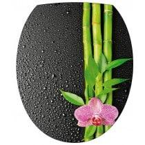 Sticker WC, sticker pour abattant de WC Fleur Bambous