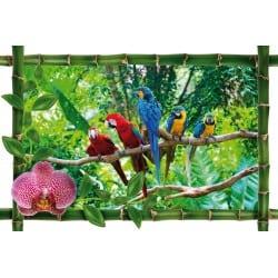 Sticker Bambou déco perroquets
