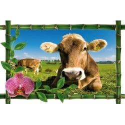 Sticker Bambou déco vaches