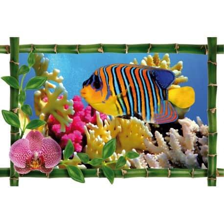 sticker bambou d co poisson multicolore art d co stickers. Black Bedroom Furniture Sets. Home Design Ideas