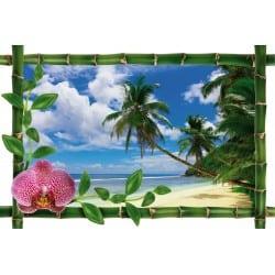Sticker Bambou déco mer et palmier