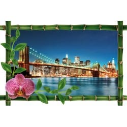 Sticker Bambou déco pont de brooklyn