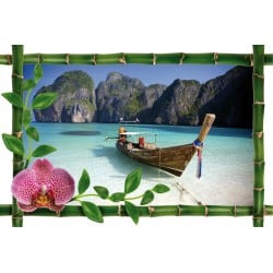 Sticker Bambou déco barque plage