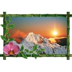 Sticker Bambou déco couché de soleil montagne