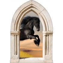 Sticker mural déco cheval noir