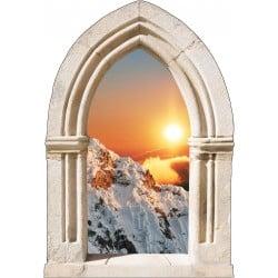 Sticker mural déco coucher de soleil montagne