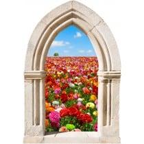 Sticker mural déco champ de fleurs