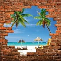 Sticker mural trompe l'oeil palmiers
