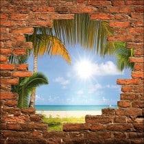 Sticker mural trompe l'oeil mur de pierre plage