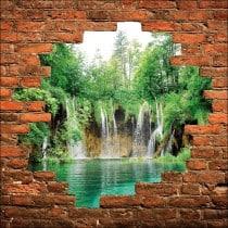 Sticker mural trompe l'oeil mur de pierre cascades
