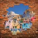 Sticker mural trompe l'oeil maisons prés du port