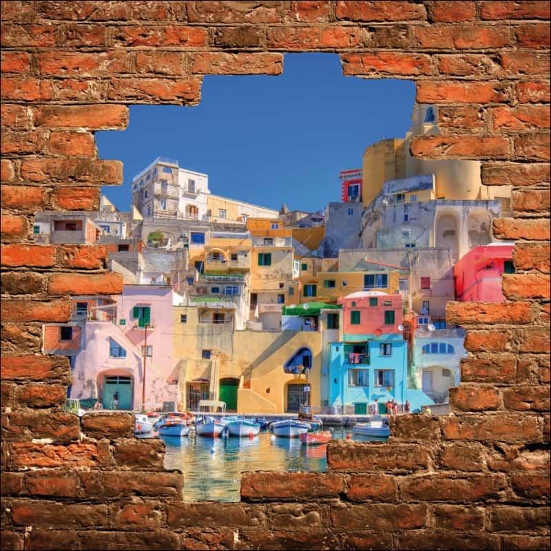 sticker mural trompe l 39 oeil maisons pr s du port art. Black Bedroom Furniture Sets. Home Design Ideas