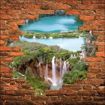 Sticker mural trompe l'oeil mur de pierre rivière cascades