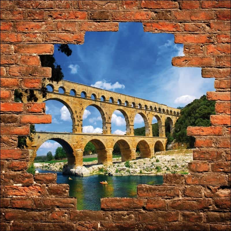 sticker mural trompe l 39 oeil mur de pierre pont du gard art d co stickers. Black Bedroom Furniture Sets. Home Design Ideas