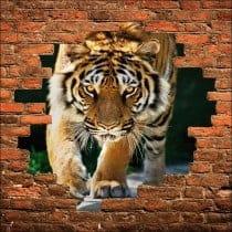 Sticker mural trompe l'oeil tigre