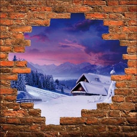 Sticker mural trompe l'oeil maison à la montagne