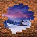 Sticker mural trompe l'oeil tour eiffel