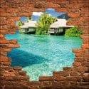 Sticker mural trompe l'oeil maisons sur l'eau