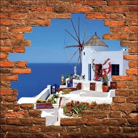 sticker mural trompe l 39 oeil moulin vent art d co stickers. Black Bedroom Furniture Sets. Home Design Ideas