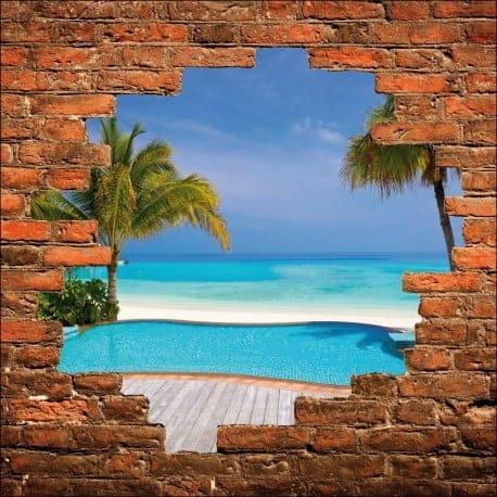 Sticker mural trompe l'oeil piscine et plage