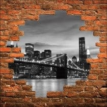 Sticker mural trompe l'oeil pont de Brooklin New York