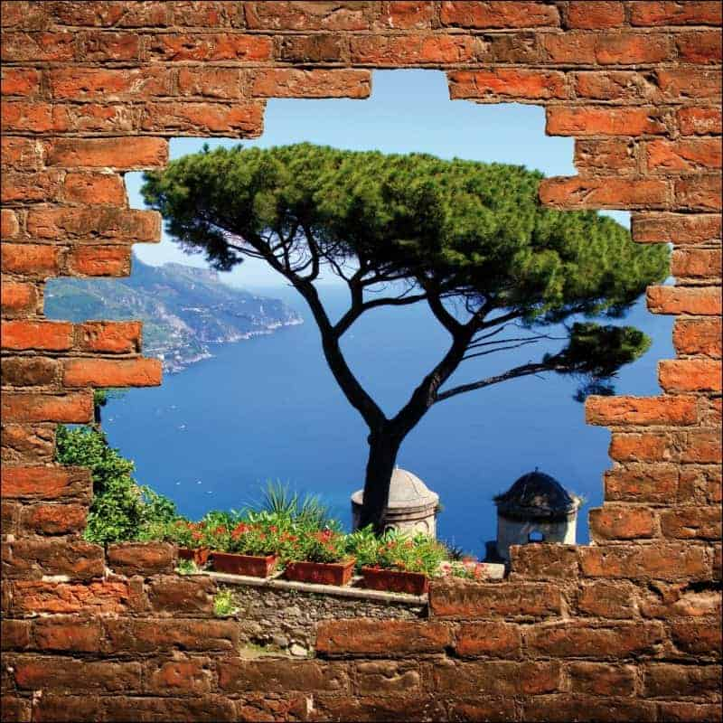 Sticker mural trompe l 39 oeil vue sur balcon art d co stickers for Brise vue trompe l oeil