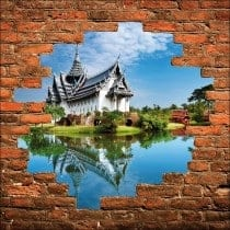 Sticker mural trompe l'oeil temple