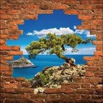Sticker mural trompe l'oeil arbre vue sur la mer