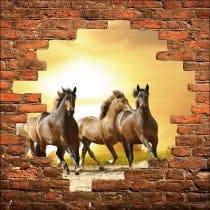 Sticker mural trompe l'oeil chevaux