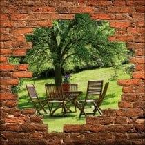 Sticker mural trompe l'oeil table sous l'arbre