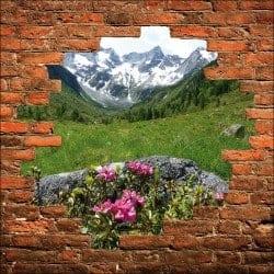 Sticker mural trompe l'oeil mur de pierre vue sur la montagne