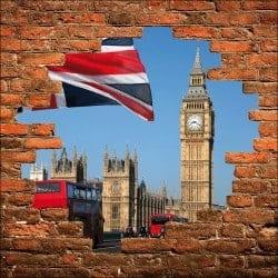 Sticker mural trompe l'oeil mur de pierre Londres