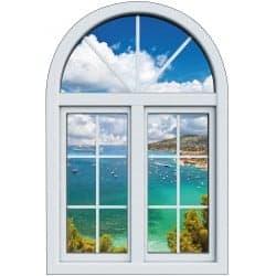 Sticker Fenêtre trompe l'oeil Mer Bateaux