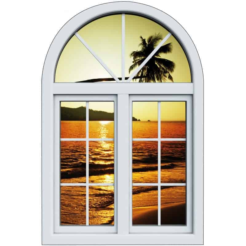 Sticker fen tre trompe l 39 oeil palmier couch de soleil for Fenetre soleil