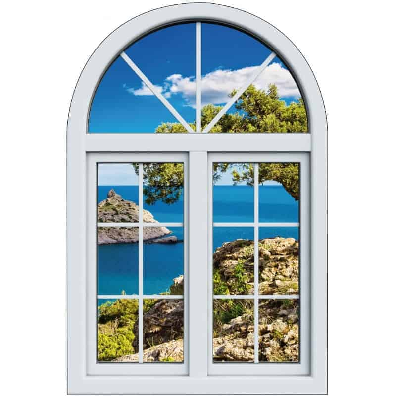 Sticker fen tre trompe l 39 oeil calanques art d co stickers for Fenetre trompe l oeil