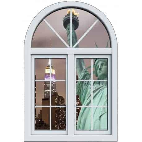 Sticker fen tre trompe l 39 oeil d co statue de la libert - Stickers pour porte fenetre ...