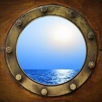 Stickers muraux déco : hublot vue sur la mer