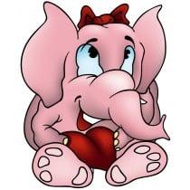 sticker Autocollant enfant Elephanteau rose