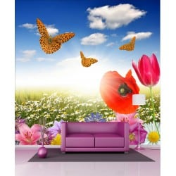 Stickers géant déco : Fleur Papillon